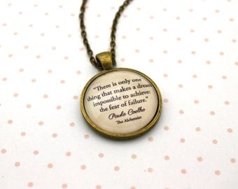 Items similar to quote pendant necklace paulo coelho for The universe conspires jewelry