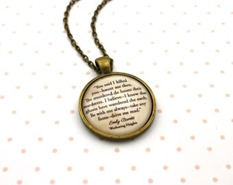 Wuthering Heights, 'Haunt Me Then', Emily Brontë Quote Necklace or Keychain