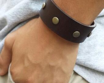 FREE SHIPPING-Men Leather Bracelet, Leather Bracelet, Mens  Bracelet, Mens Jewelry, Bracelet For Men, Dad Bracelet, Bangles Men Bracelet