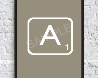 Scrabble Letter Print, wall art, illustration