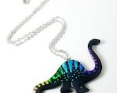 disco dinosaurs series // black rainbow brontosaurus necklace
