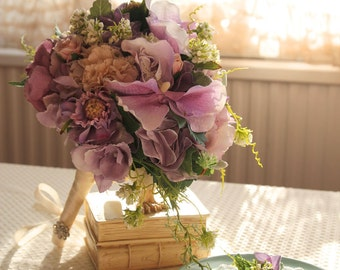 Bridal Bouquet , Silk Bouquet , Wedding Bouquet , Elegant Bouquet , Purple , Bouquet with Groom 's Boutonniere #No8_001Pur