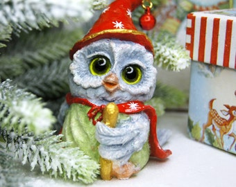 Owl, christmas Ornaments with Clips,figurine owls, owl statue, sculpture owl, cotton