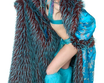 Playa Trim COAT Fauxfur custom lined Women's reversible Playawear Festival BURNINGMAN Style  PLAYACOAT for delivery befor Summer Festivals