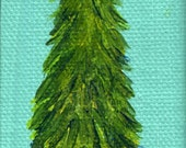 Christmas Tree Painting, Tree in Snow  Mini Painting Miniature Canvas with Easel, acrylic painting canvas art, Christmas decor