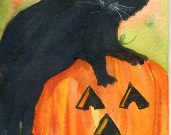 Scaredy Black Cat, Pumpkin Watercolor Painting, Jack o'lantern watercolors paintings original 4 x 6, cat watercolor painting Fall decor