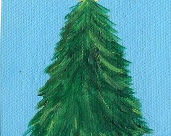 Tree Painting, Miniature Canvas with Easel,  Fir Decor, Small  Tree acrylic painting canvas art SharonFosterArt