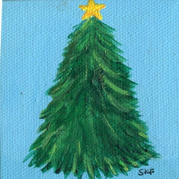 Tree painting miniature canvas with easel fir decor small