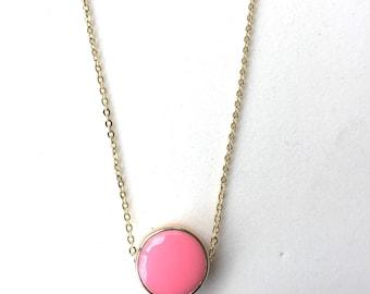 Pink Enamel Circle Necklace