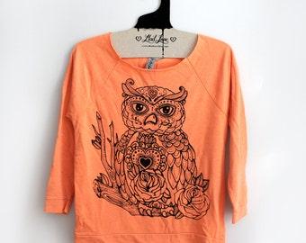 SALE S,L,XL Hand Dyed Orange Raw-Edge 3/4-Sleeve Raglan with Owl Screen Print
