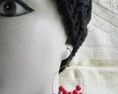 Beaded Hoop Earrings Cherry Bead Earrings Brass Ear Hoops