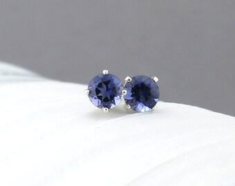 Iolite Earrings Tiny Silver Earrings Iolite Stud Earrings Silver Stud Earrings Gemstone Post Earrings Midnight Navy Blue Earrings 4mm