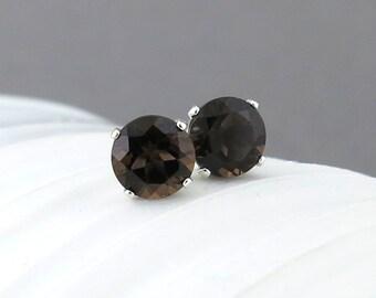 Smoky Quartz Earrings Silver Stud Earrings Small Silver Earrings Brown Earrings 6mm Gemstone Post Earrings Silver Jewelry Gift for Her