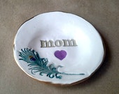 Ceramic Peacock Feather Ring Holder Dish 4  inches round MOM