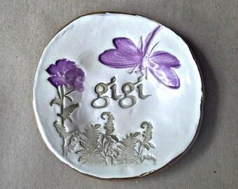 Ceramic GIGI Trinket Bowl  edged in gold