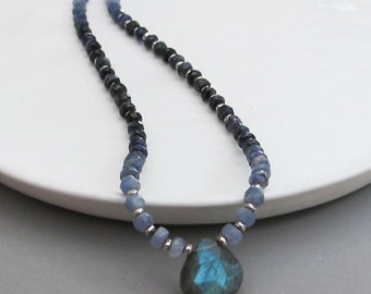 Ombre Blue Sapphire Labradorite Necklace Sterling Silver DJStrang Boho Chic Shaded Blue Gemstone Green Blue Color Flash