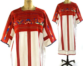 Guatemalan Huipil Embroidered Cotton Dress / Vintage Ethnic Bohemian Dress with Geometric & Stripe Embroidery