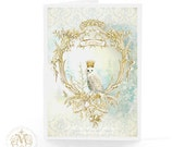 Owl, Christmas card, let it snow, holiday card, woodland, owl card, snow, forest, white Christmas, blue, gold, vintage decor, crowned owl
