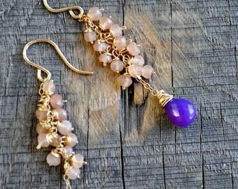Peach and Purple earrings, save 30%