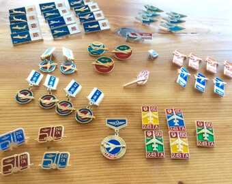 Vintage Soviet Pin Badge Collection, CCCP Aeroflot Aviation Badges, Russian Airplane Military Aircraft Theme Collectible Enamel Metal Badges