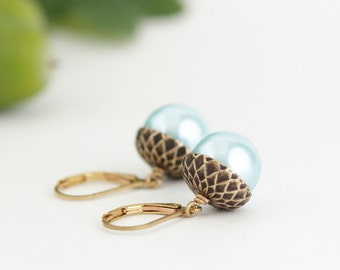 Blue Pearl Earrings - Acorn Earrings -  Nature Earrings - Woodland Rustic - Antique Gold Brass and Soft Blue Pearls - Nature Earrings