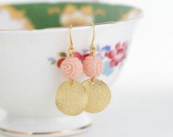 Soft Pink Earrings, Gold Earrings, Geometric Earrings, Dangle Earrings, Carved Beads, Pale Pink Beaded Earrings, Gift For Woman