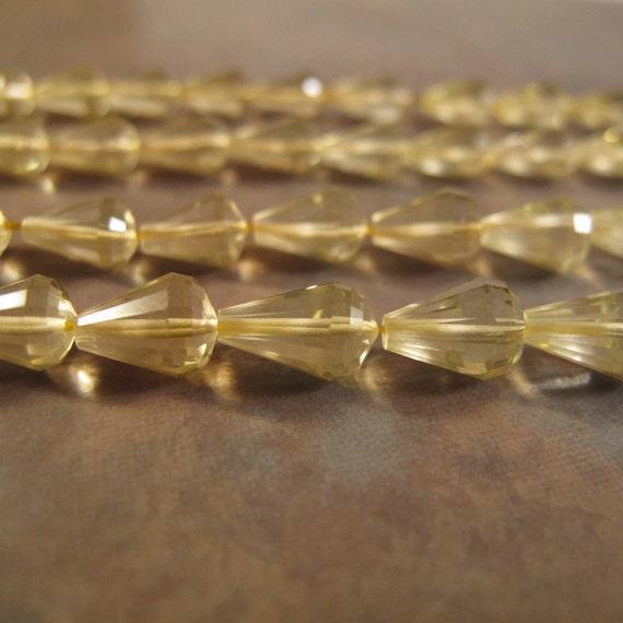 Ten Count of Natural Lemon Quartz Beads, Ten Long Drilled Chandelier Briolettes, 10 Pale Yellow Gemstones for Making Jewelry (L-Lq1)