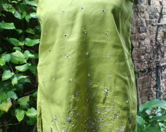 SALE was 15.00 Light green tunic sequins India Indian cotton Small S hippie fancy festival mirrored embroidered shirt size 4?