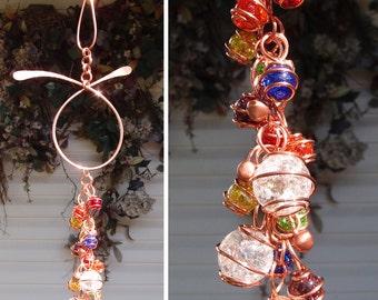 NEW Glass & Copper Wind Chimes / Gypsy Windchime Garden Art Suncatcher Yard/Lawn/Outdoor Decor