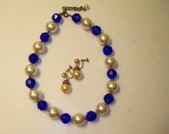 Pearl & Blue Bead Choker Necklace and Earring Set Vintage Acrylic Beads and Screwback Earrings