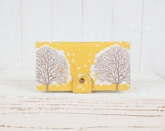 BiFold Clutch Wallet - Tree Prints Wallet - Vegan Wallet / Majestic Oak Trees in Sunglow -- Ready to Ship