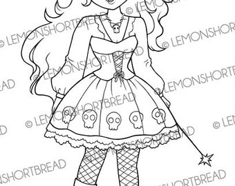 Digital Stamp Goth Skull Witch Girl, Digi Download, Fantasy, Halloween, Gothic Lolita, Scrapbooking Supplies, Coloring Page, Clip Art
