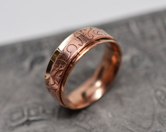 1/4 inch wide textured bronze and copper spinner ring - ready to ship