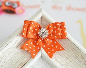 New! Set of 2pcs handmade Grosgrain Bows--orange (GR1151)