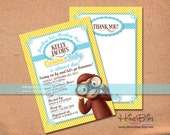 Curious George Personalized Invite and Thank You Card Set for Baby Shower or Birthday Blue, Pink or Red - Personalized Digital Files Only