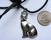 FAMILIAR'S LOVE AMULET/ Pewter cat pendant with a black necklace cord ~ feline - cats - jewelry