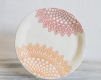 Red and Orange Handmade Ceramic Dinner Plate