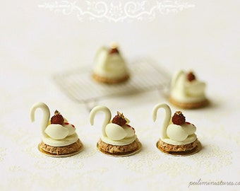 1:12 Dollhouse Miniatures - White Chocolate Swan Desserts
