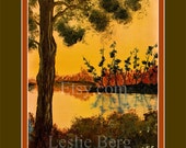 "8.5""x11"" Bayou Sunset with digital matting by Leslie Berg"