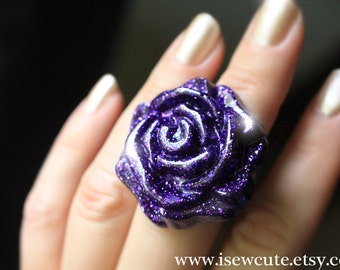 Resin Jewelry, Flower Ring, Chunky Ring, Purple Rose Ring, Flower Jewelry, Cute Statement Ring, Floral Bohemian Rose Jewelry, by isewcute