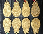 Set of 4 Pineapple Christmas ornaments Large gold Christmas tree decorations Lace texture Holiday decor Handmade ceramic