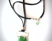 Seaglass Necklace with Sterling Silver and Leather Necklace Boho Necklace