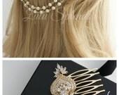 Gold Wedding Headpiece Gold Crystal Hair Chain Bridal Hair Comb Swarovski Crystal Pearl Boho Bridal Hair Accessory EVIE