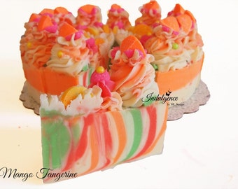 Mango Tangerine Handmade Artisan Vegan Soap Cake Slice, handmade soap, cold process soap, soap cake, cake soap