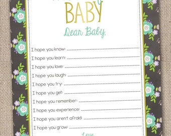 Instant Download Printable Baby Wishes Card Floral Blue Design Printable PDF