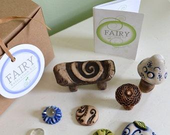 Miniature fairy garden kit: fairy furniture believe gift set 8 items cast marble stone