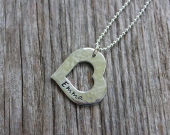 Heart Washer - Hand Stamped Sterling Silver Name Tag Pendant with Necklace
