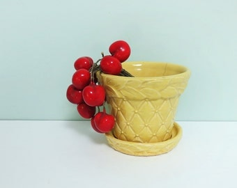 Yellow McCoy Pottery Flower Pot, 1940s, Quilted Diamond Pattern, Embossed Leaves, Attached Saucer
