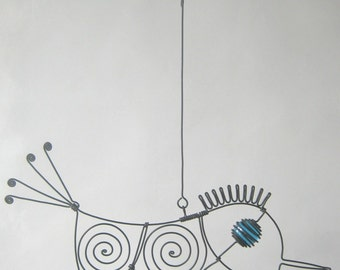 Another Turquoise - Eyed Wire Bird Sculpture