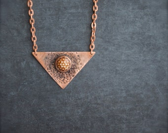Mars Settlement Copper Triangle Pendant Necklace Oxidized Metalwork Geometric Dome Rust Brown Burnt Orange Boho Jewellery